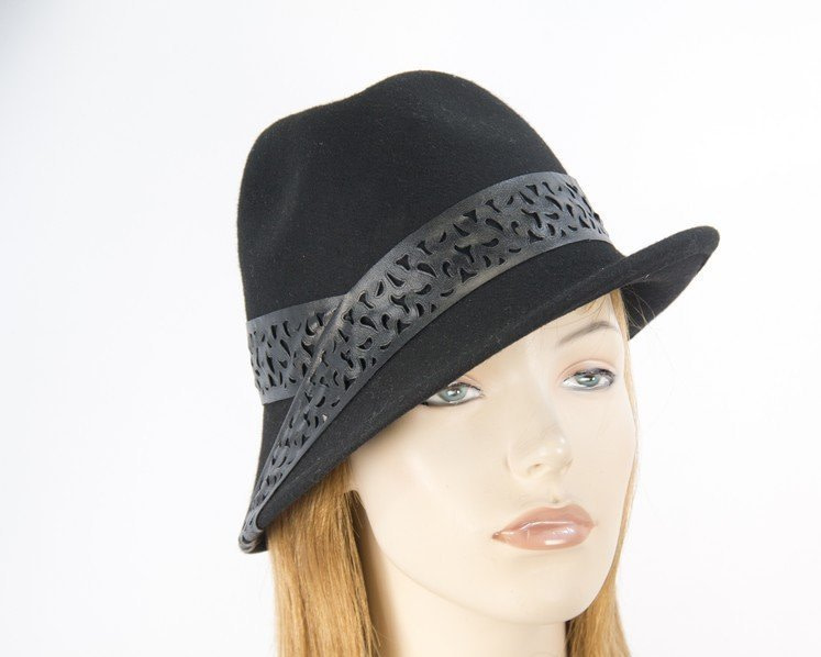 Black felt trilby hat with black leather by Max Alexander