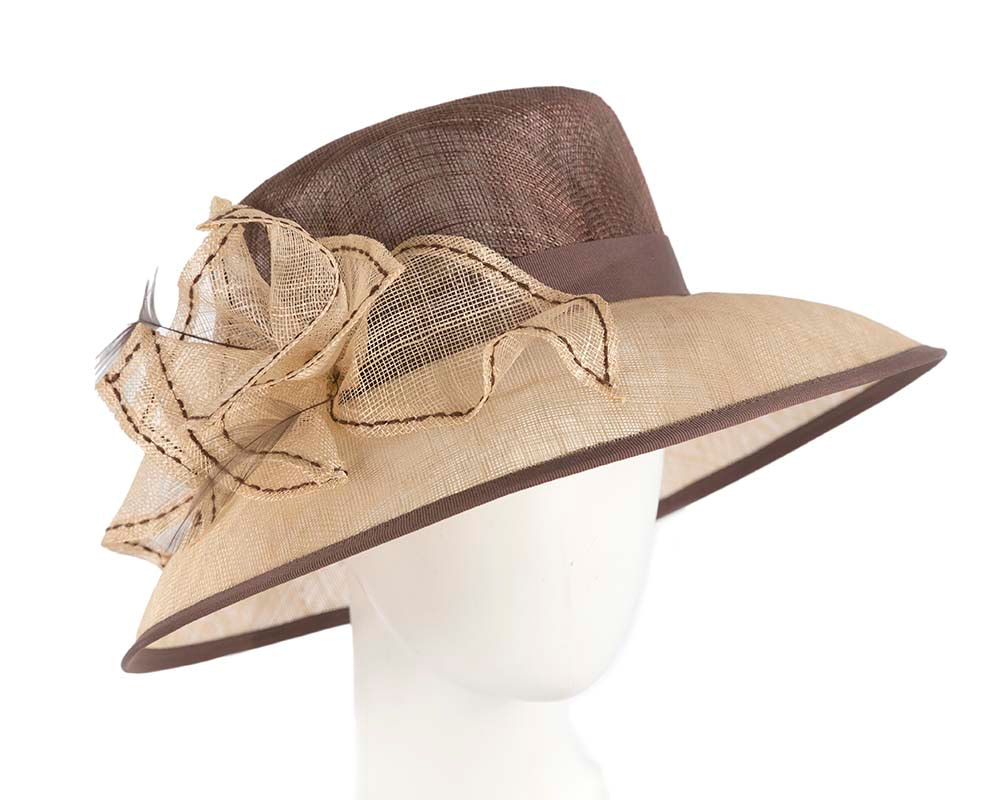Large Nude and Chocolate sinamay hat by Cupids Millinery