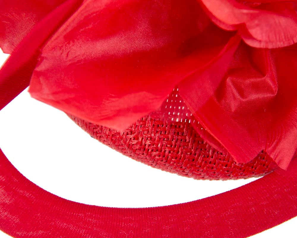 Unusual red Fillies Collection fascinator with flower for Melbourne Cup S155R