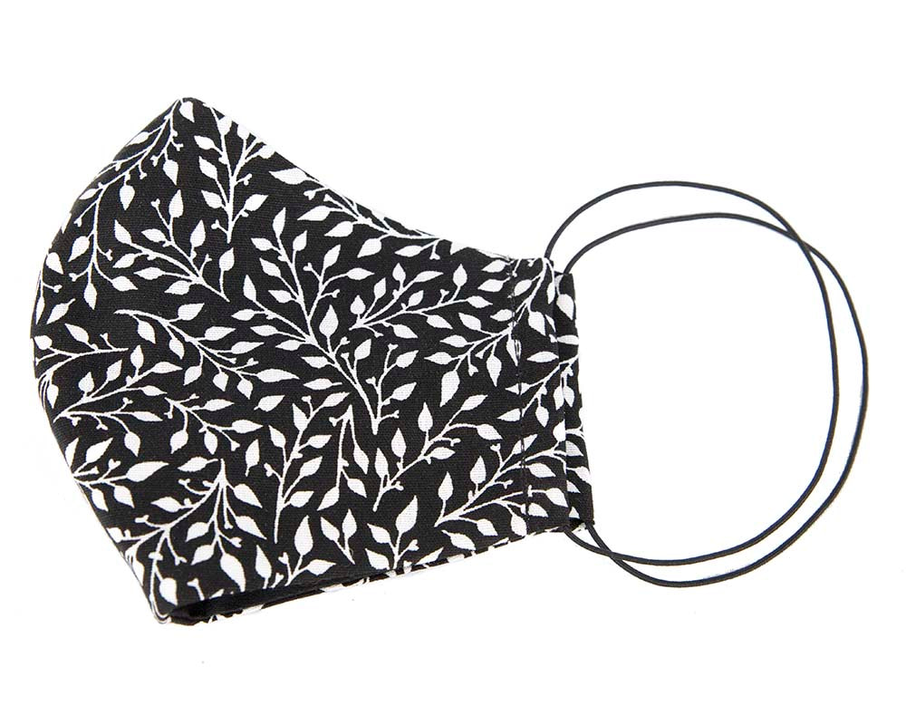 Comfortable re-usable black cotton face mask leafs print