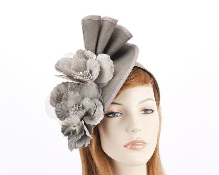 Large grey felt flower fascinator F591G