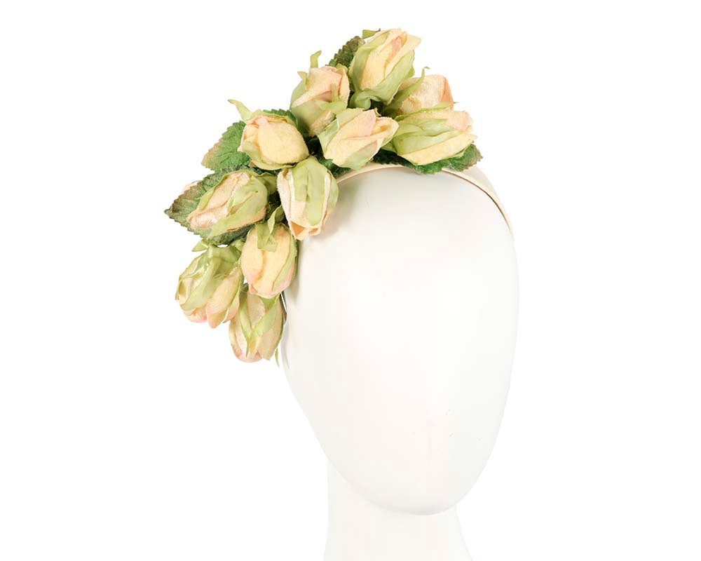 Light yellow rose flower headband fascinator by Max Alexander
