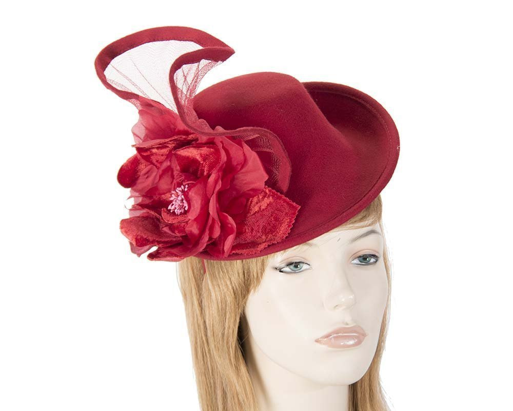 Red winter fashion fascinator hat for races buy online in Australia F552R