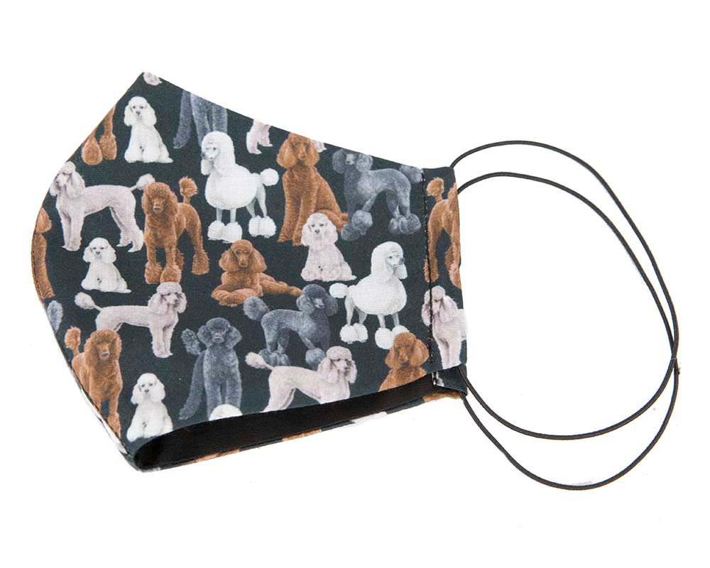 Comfortable re-usable cotton face mask with poodles