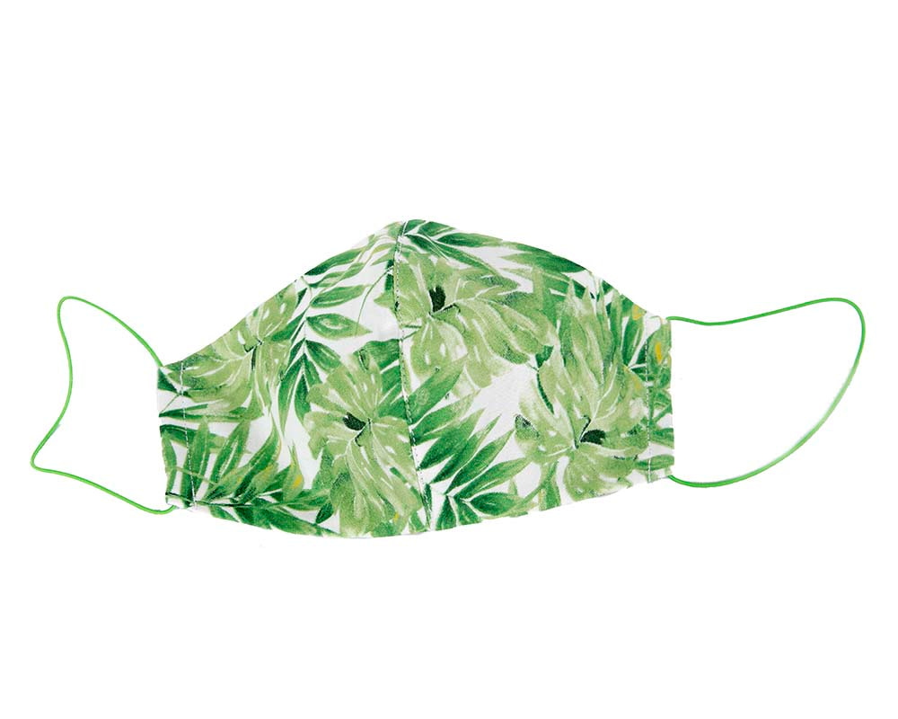 Comfortable re-usable cotton face mask with green leafs print