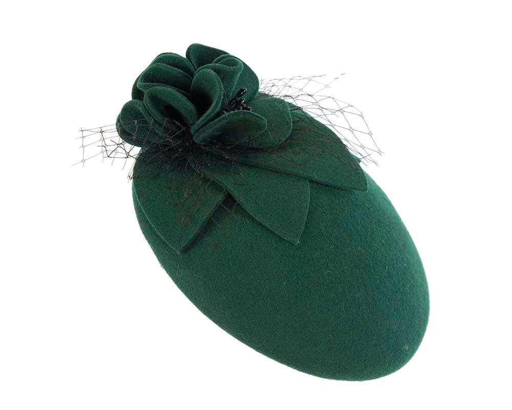 Green felt beret fascinator by Cupids Millinery Melbourne