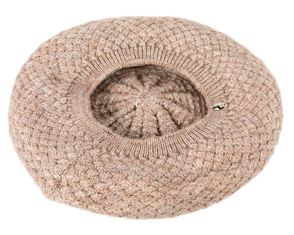 Crocheted wool beige beret by Max Alexander
