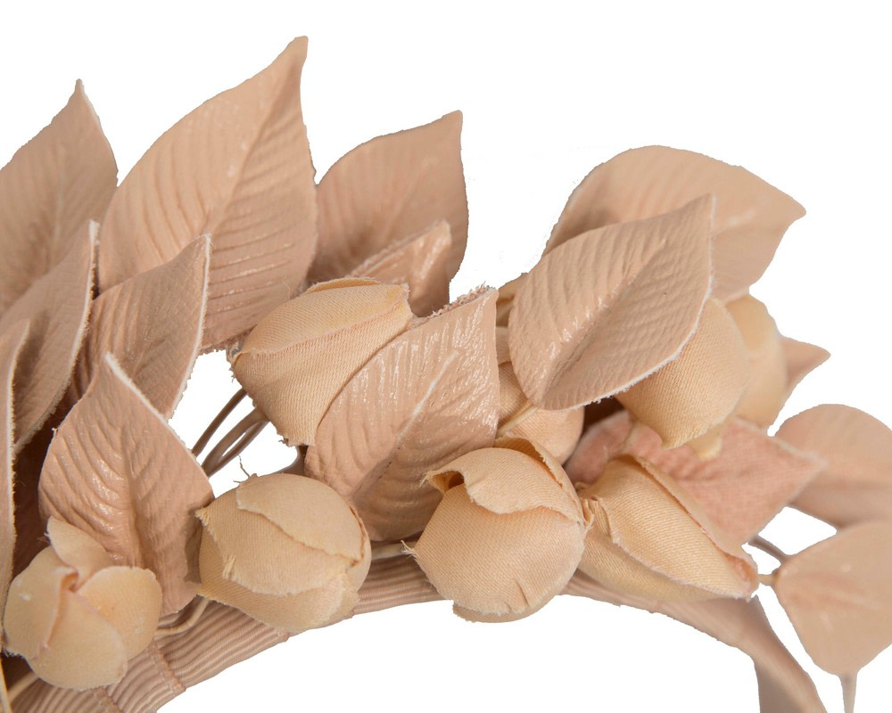 Nude sculptured leather flower headband fascinator by Max Alexander