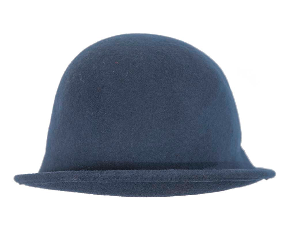 Navy felt cloche hat with knot by Max Alexander