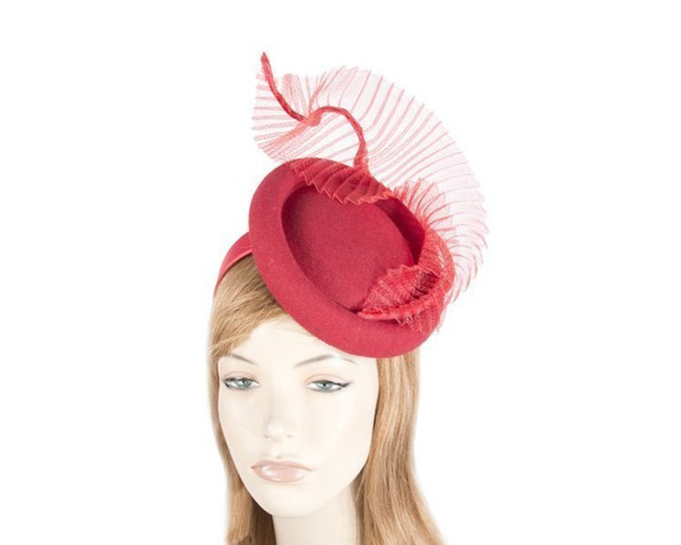 Tall red winter fascinator