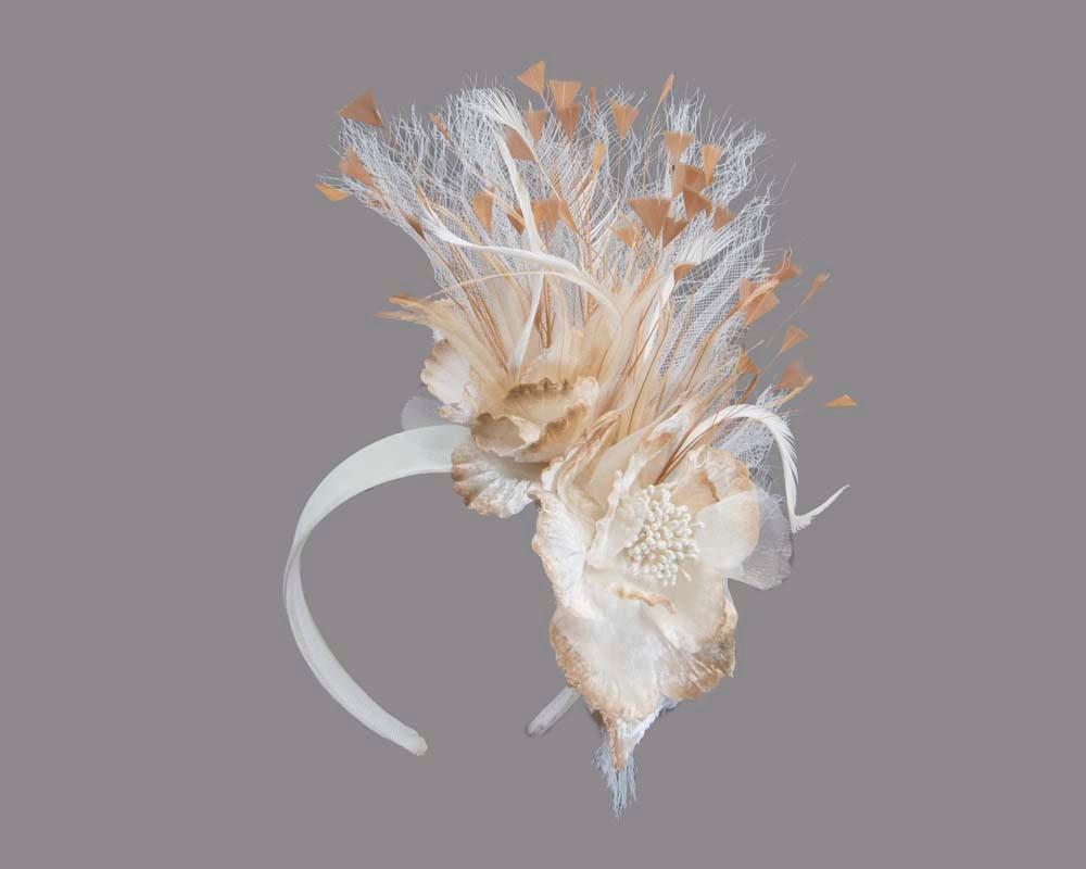 Cream & natural designers flower fascinator