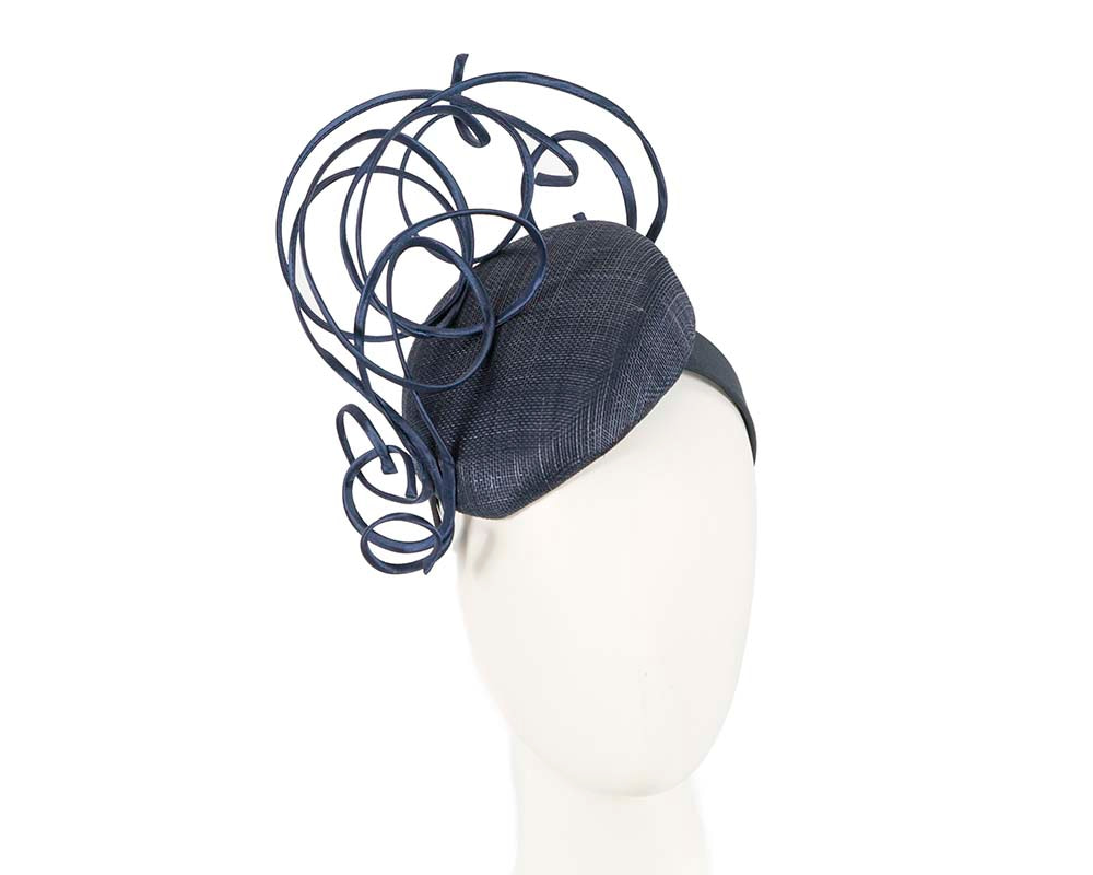 Designers navy pillbox fascinator by Fillies Collection