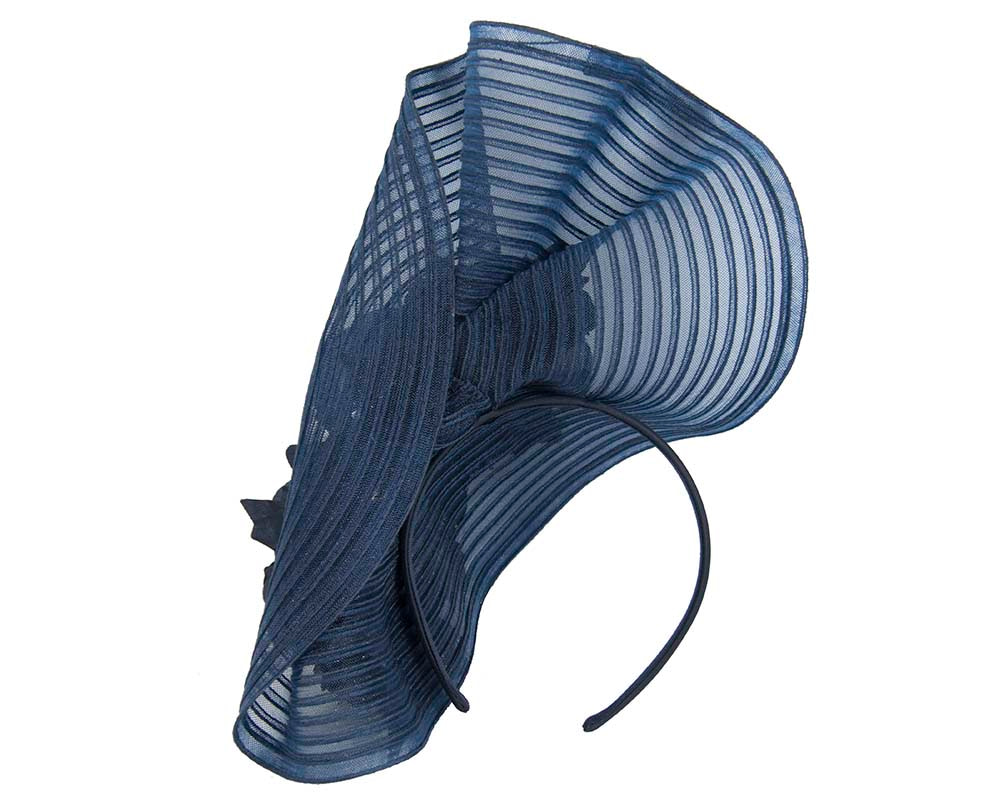 Large navy racing fascinator with flowers by Fillies Collection