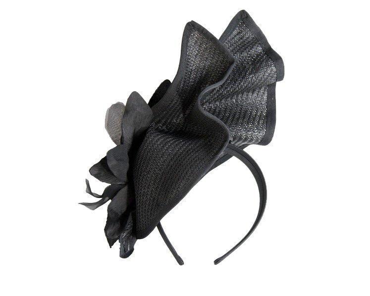 Bespoke black fascinator with flower