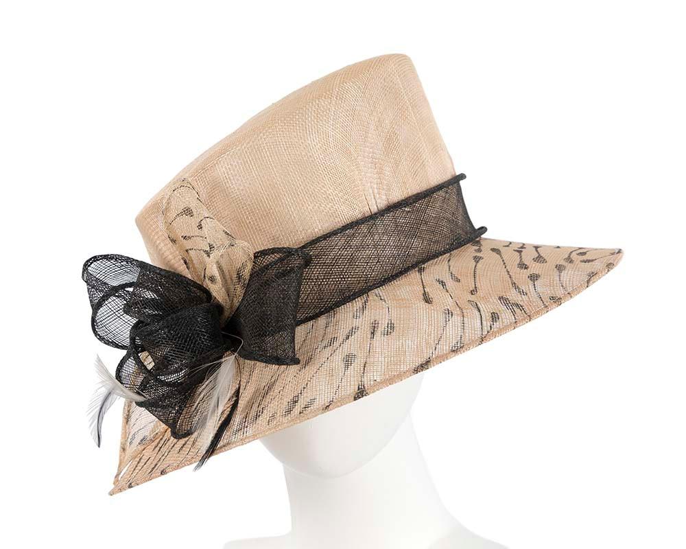 Nude & black bucket sinamay hat by Cupids Millinery