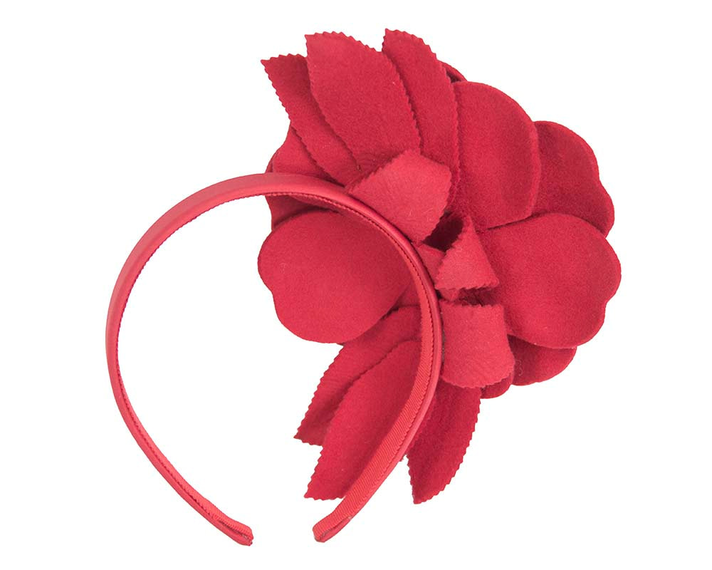 Red felt flower fascinator by Max Alexander