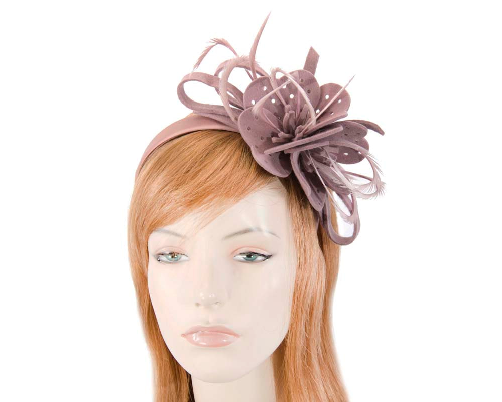 Dusty pink felt flower winter fascinator