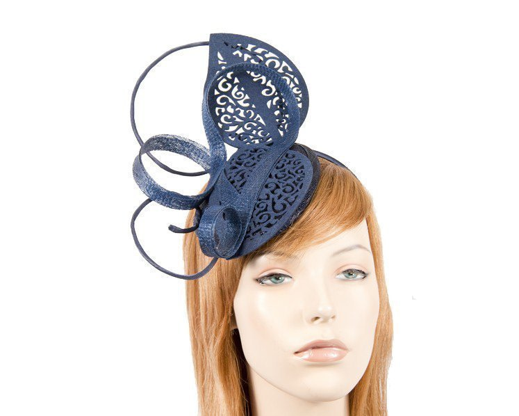 Navy sinamay & lace fascinator for Melbourne Cup races buy online