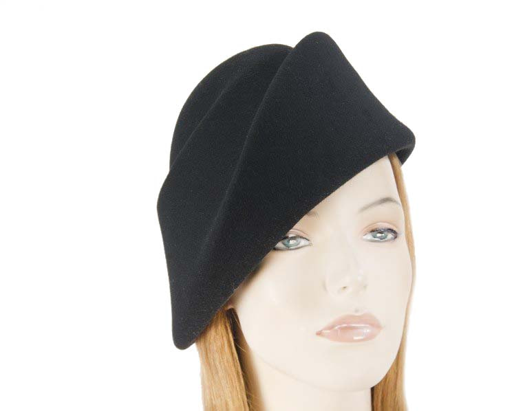 Unique black ladies winter felt fashion hat