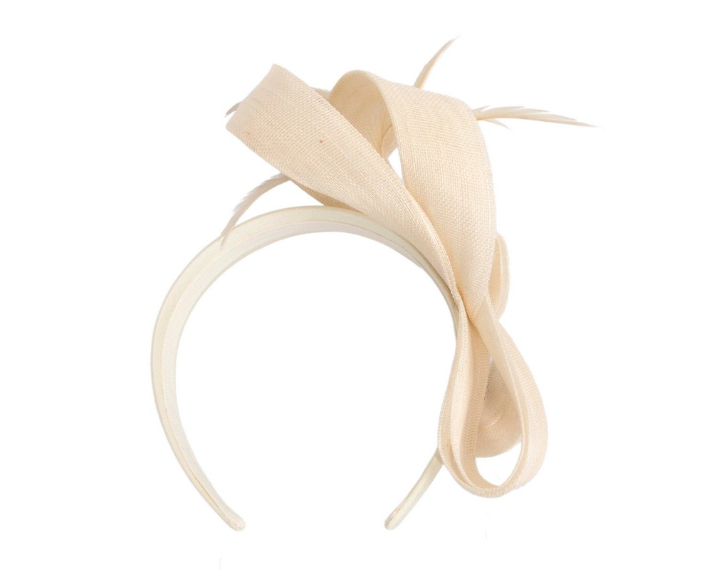 Cream abaca loops and feathers racing fascinator by Fillies Collection