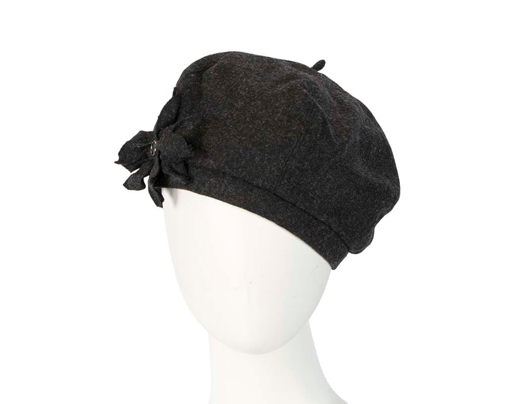 Charcoal winter ladies fashion beret hat by Max Alexander