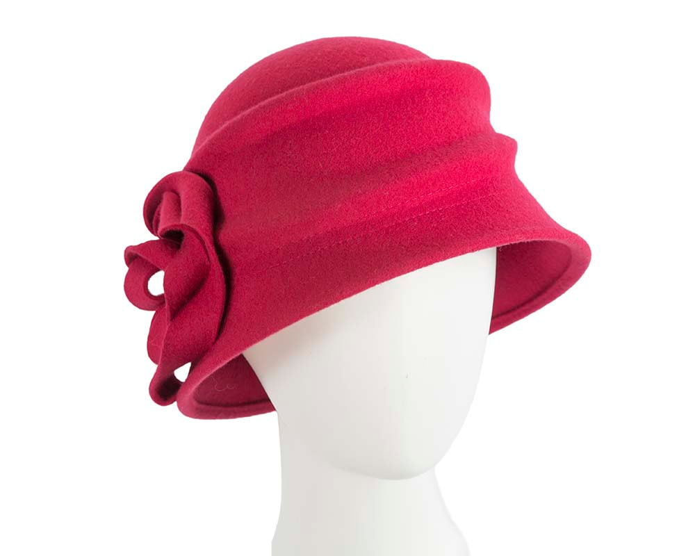 Unusual raspberry red cloche hat by Betmar Hats