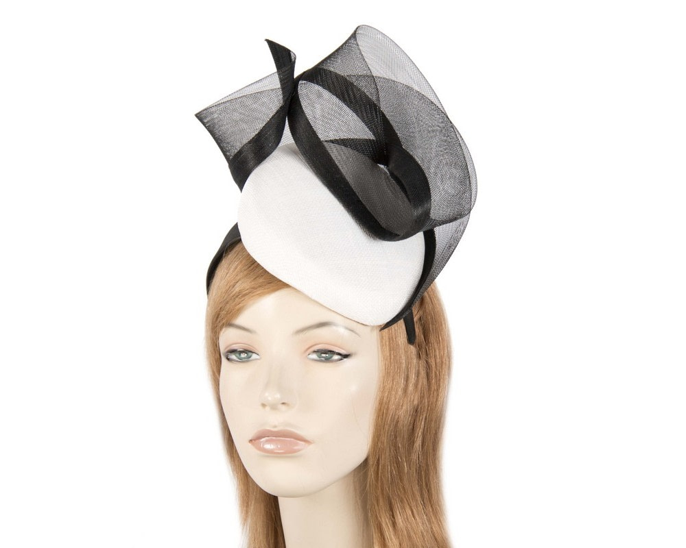 Tall white & black pillbox fascinator