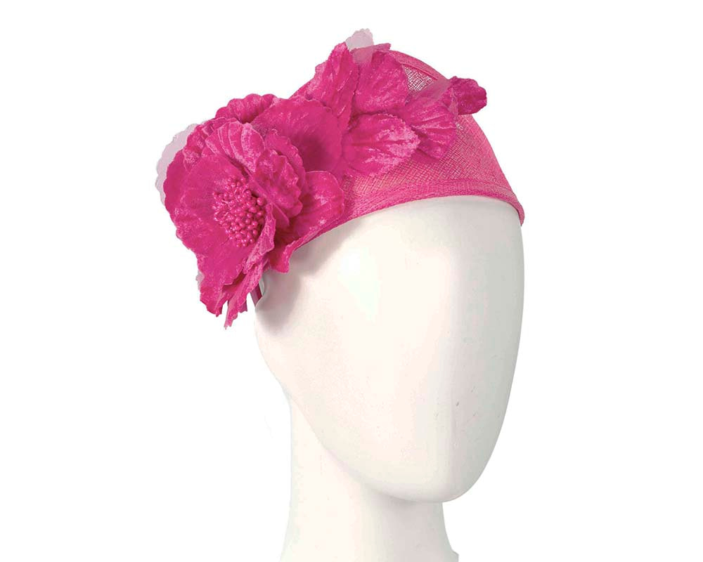 Wide fuchsia flower headband fascinator by Max Alexander
