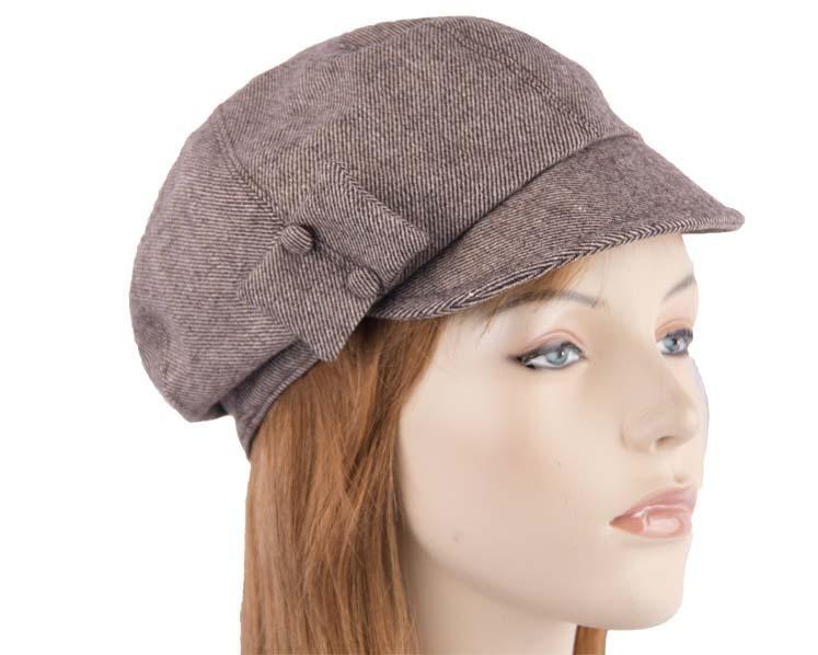 Brown winter ladies fashion newsboy beret hat Max Alexander J254BR