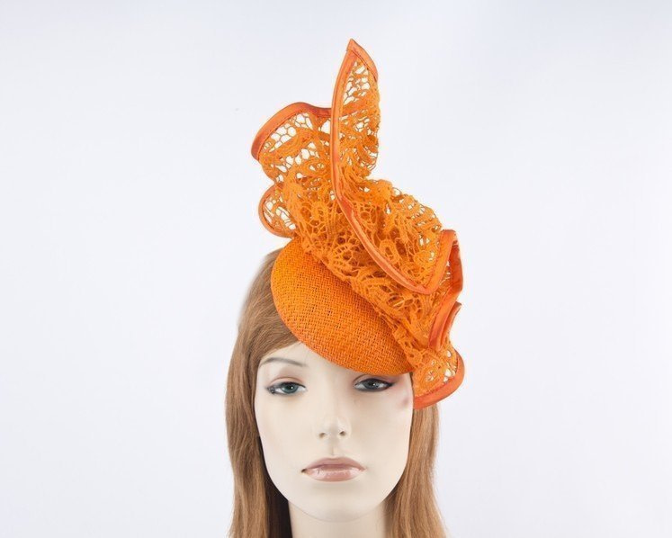 Orange pillbox with lace for Melbourne Cup races by Fillies Collection S166O