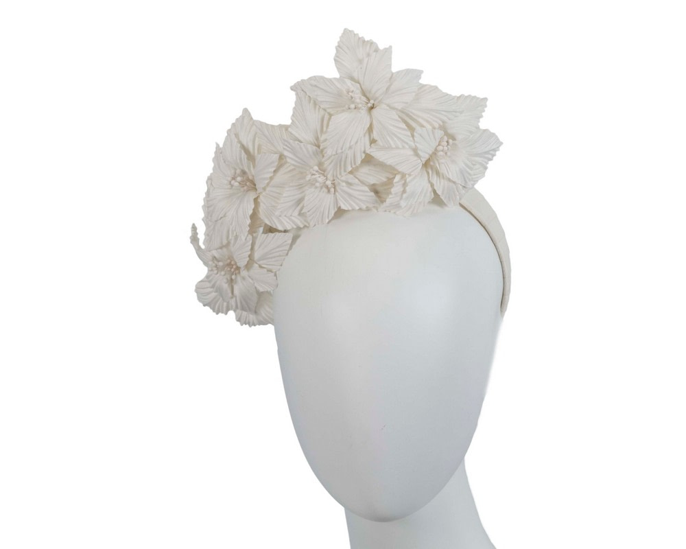 Cream sculptured flower headband fascinator by Fillies Collection