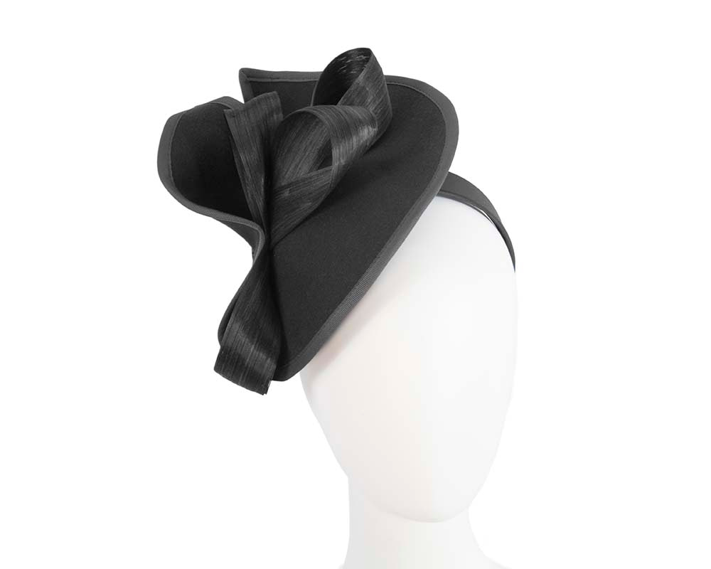 Twisted black felt fascinator by Fillies Collection