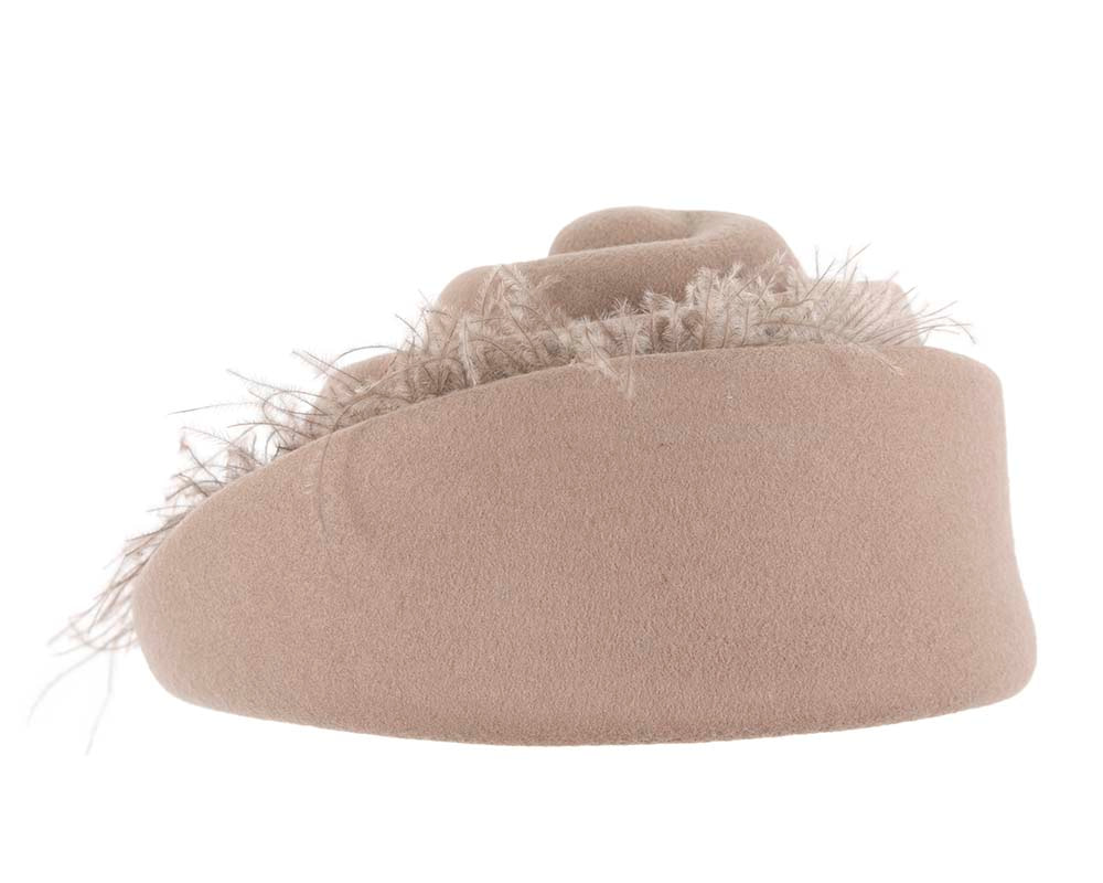 Designers beige winter fashion felt hat by Cupids Millinery