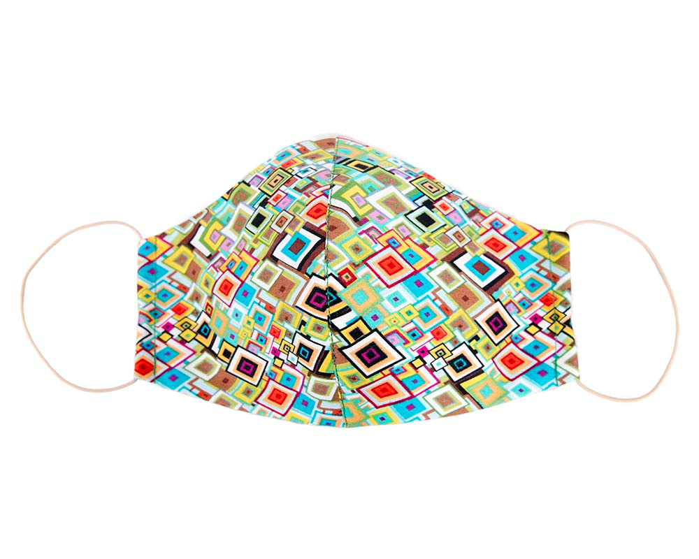 Comfortable re-usable cotton face mask with geometric pattern