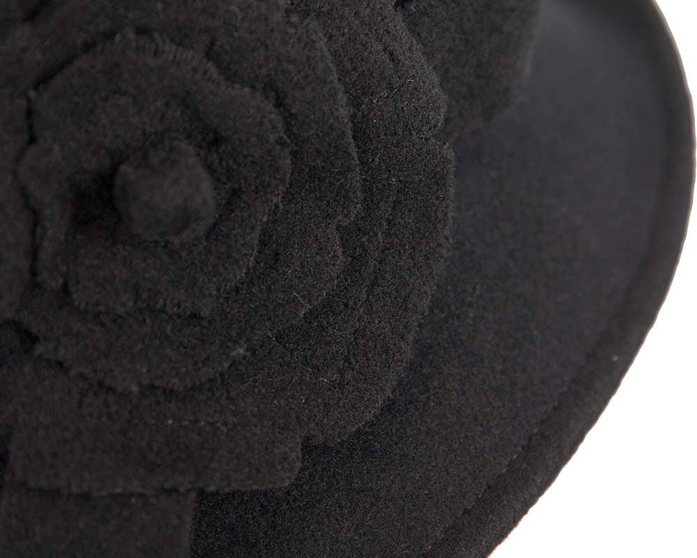 Elegant black winter fashion cloche hat by Cupids Millinery