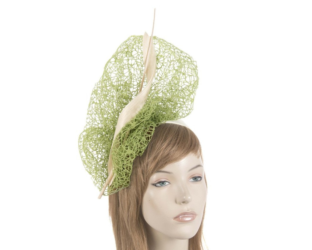 Bespoke green & cream lace fascinator
