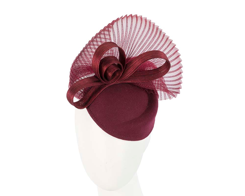 Burgundy wine felt autumn winter racing pillbox
