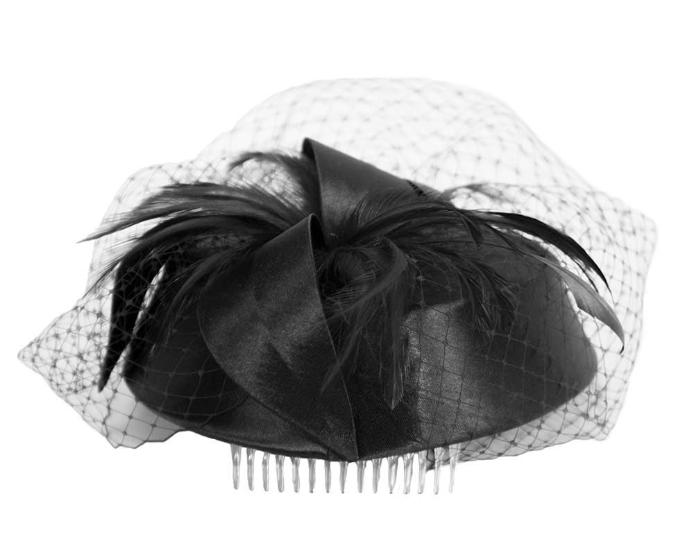 Black custom made cocktail pillbox hat