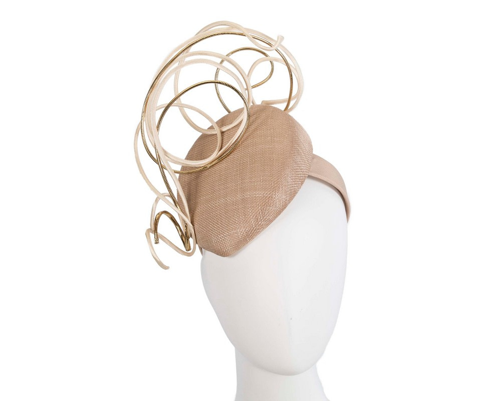 Designers nude & gold pillbox fascinator by Fillies Collection