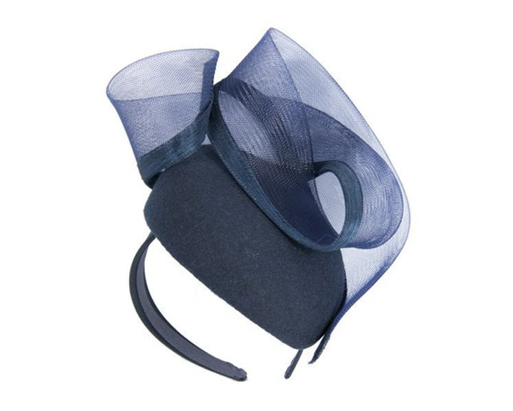 Navy pillbox winter racing fascinator