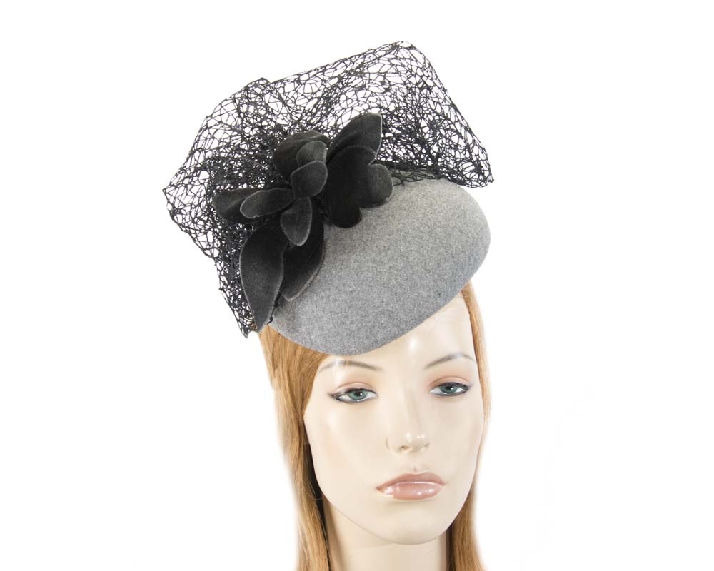 Grey & black winter beret fascinator