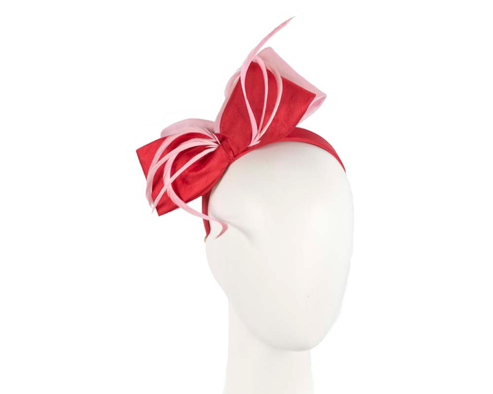 Red & Pink bow racing fascinator by Cupids Millinery