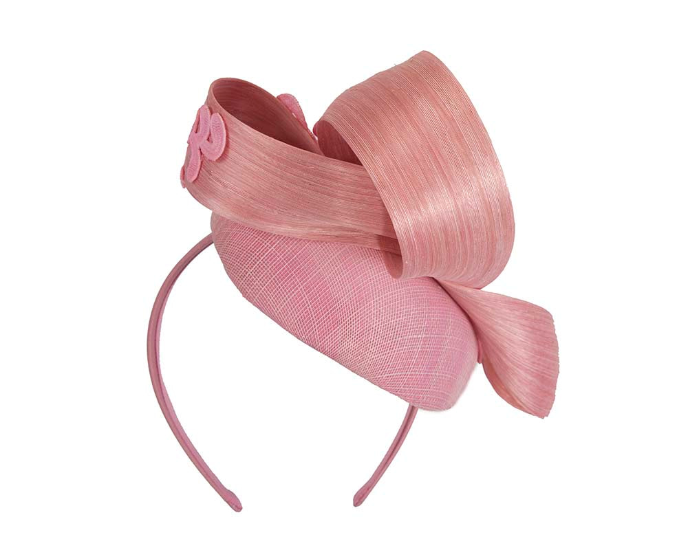 Stunning pink pillbox fascinator with lace by Fillies Collection