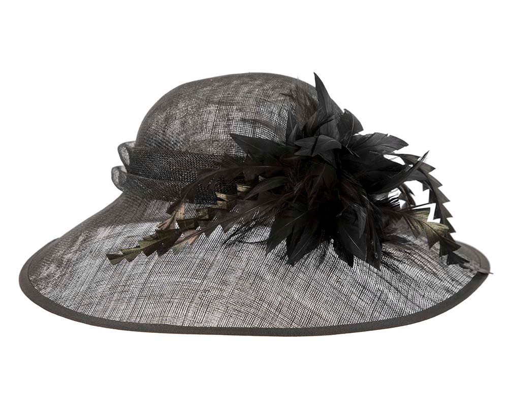 Large black racing hat by Cupids Millinery Melbourne