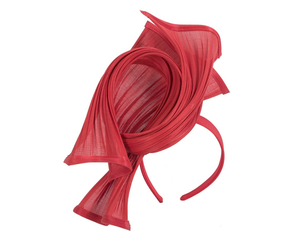 Bespoke red jinsin racing fascinator by Fillies Collection