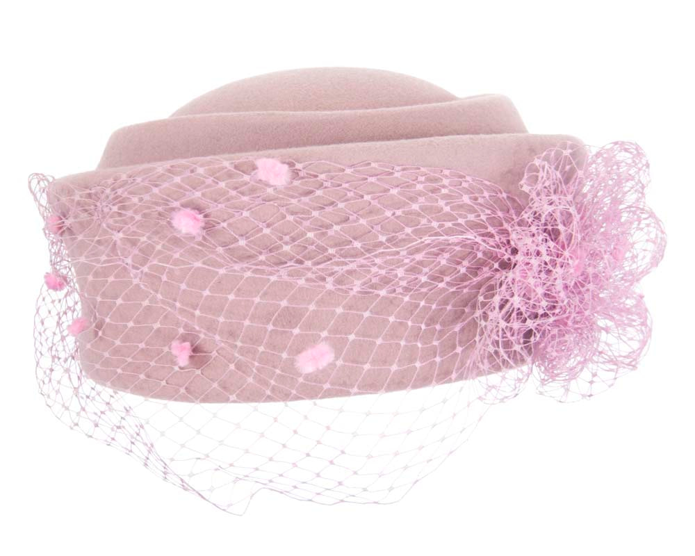 Large dusty pink felt beret hat