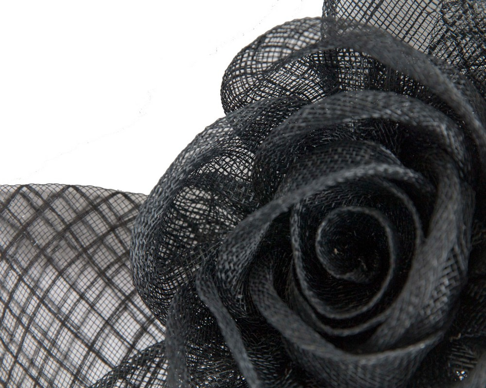 Large black sinamay bow racing fascinator by Max Alexander
