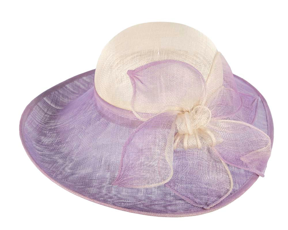 Cream & lilac wide brim racing hat by Cupids Millinery