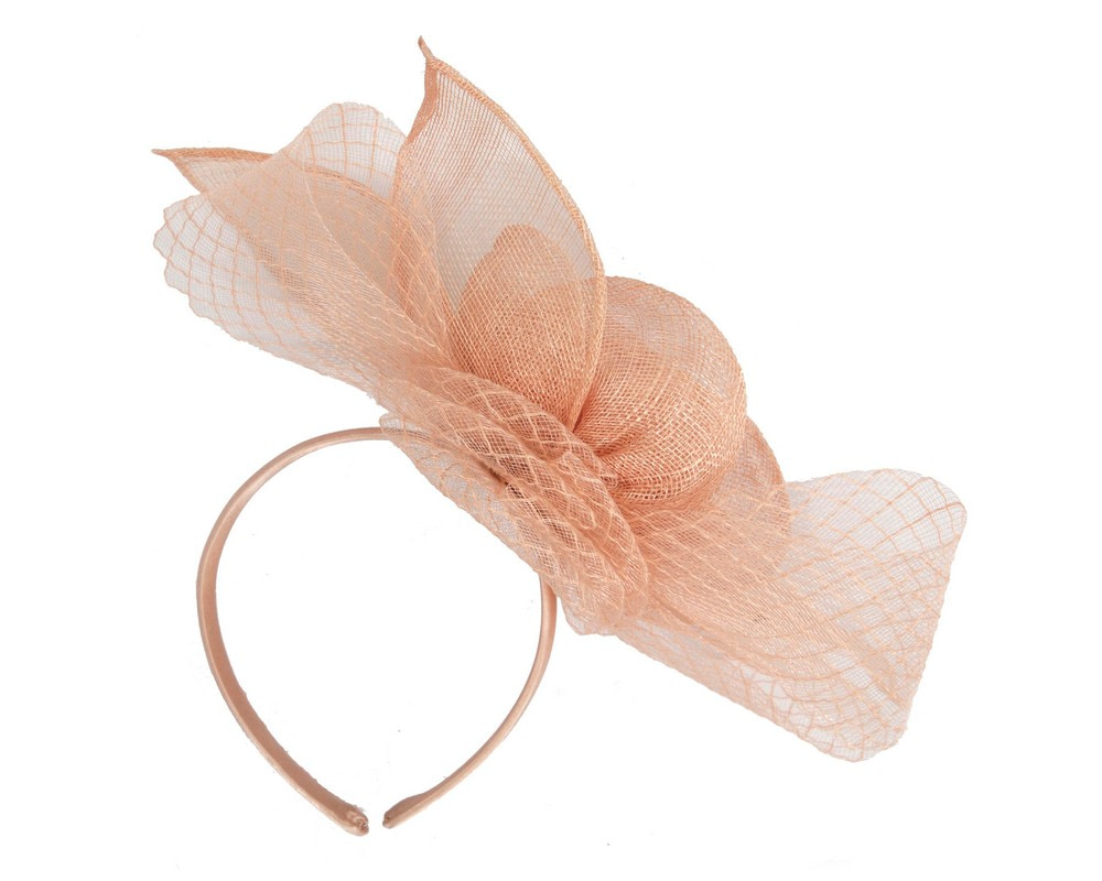 Large nude sinamay bow racing fascinator by Max Alexander