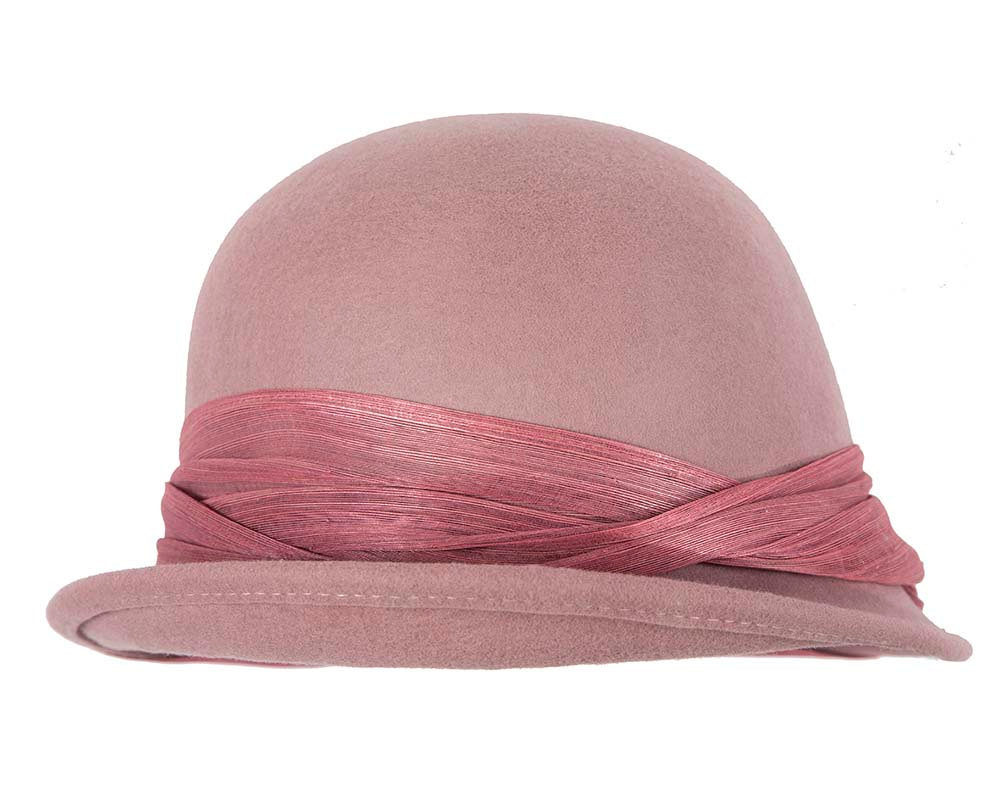 Dusty Pink felt draped cloche hat by Fillies Collection